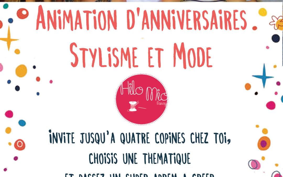 Animation d'anniversaires «Stylisme et Mode»
