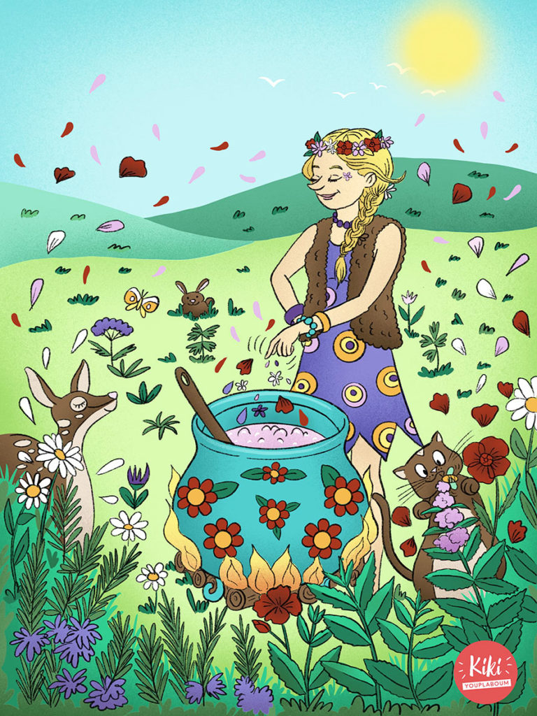 Illustration sorcière herboriste