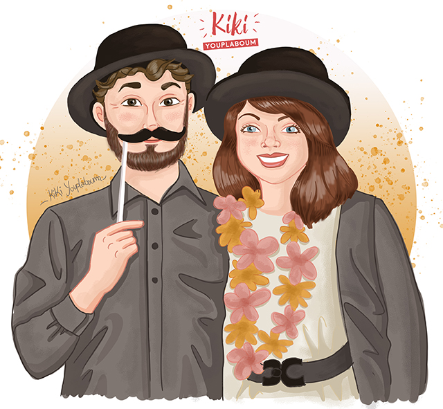 illustration personnalisée couple