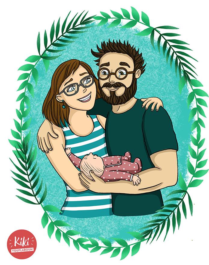 illustration personnalisée famille