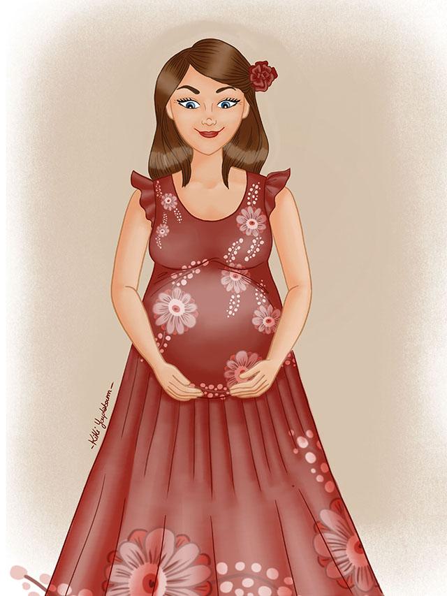 illustration personnalisée femme enceinte