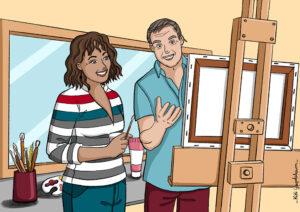 Illustration de l'activité peinture adultes -Centre Social de Lunéville-