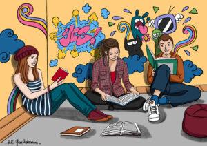 Illustration de l'activité lecture ados -Centre Social de Lunéville-